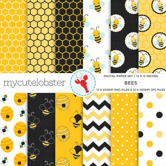 Bees Digital Paper Set - bee patterned paper pack, honeycomb, chevron, yellow, black - personal use, small commercial use, instant download