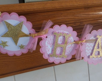 Twinkle Twinkle Little Star Birthday Banner, Pink Gold Glitter Birthday Banner, 1st Birthday Banner, Matching Tissue Pom Poms Available