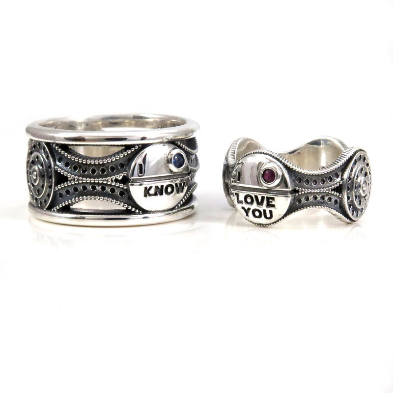 Star Wars Wedding Rings: His And Hers Star Wars Ring Set Sterling Silver With Rubies