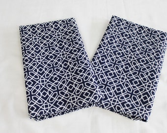 Navy Geometric Print Cloth Napkins - Double Sided, Thick and Large - set of 2