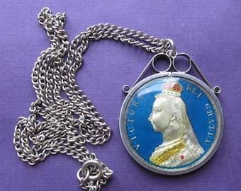 Summer Sale Antique Victorian 1887 Jubilee Silver Enamel Half Crown Coin Pendant Necklace Jewelry