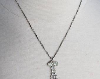 Vintage Costume Jewelry Rhinestone Teardrop Necklace