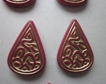 Burgundy and Gold Teardrop Acrylic Beads 28x19mm 8 Beads