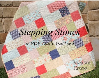 Layer Cake Quilt Pattern, PDF File, Stepping Stones, Easy Quick Beginner to Advanced Quilting Sewing Digital Download PDF File Instant