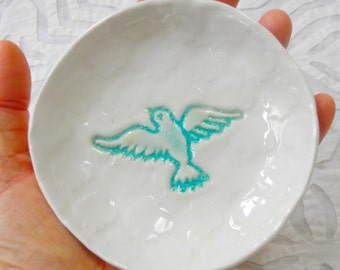 Dove Plate, Ring Dish Holder, aqua ring bowl, wedding ring holder, Spoon Rest, Small plate, teabag holder, jewelry holder, ceramic dish