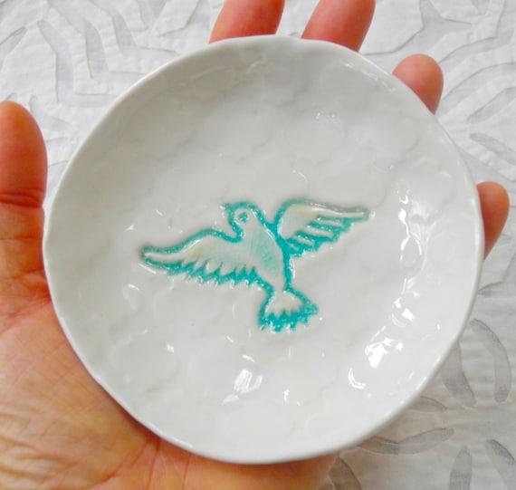 Dove Plate, Ring Dish Holder, aqua ring bowl, wedding ring holder, Spoon Rest, Small plate, teabag holder, jewelry holder, ceramic dish
