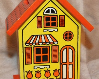 Vintage Wooden House Coin Bank Orange & Yellow Painted House Bank 1970's LaRue Bank