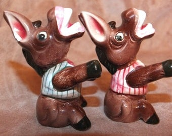 Vintage Donkey Salt and Pepper Shaker Set
