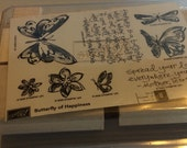 Stampin up butterfly of happiness Rubber Stamp Set  NEVER USED!!