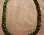 Green Bead Crochet Necklace