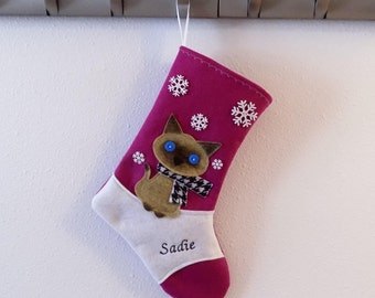 Siamese Cat Kitten Personalized Christmas Stocking by Allenbrite Studio