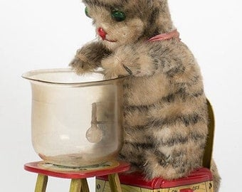 Vintage Hungry Cat mechanical toy by Linemar