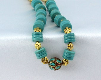 Turquoise necklace, Tibetan brass focal, turquoise inlay, coral inlay, OOAK gifts for her, gold jewelry, tuquoise jewelry, turquoise