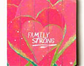 Wooden Art Sign Planked Family Strong Typography Wall Art Love Family Pink Hearts