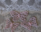 Shabby pink butterfly set, resin wall, princess decor, painted vintage, pale pink butterflies