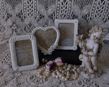 Metal mini frame collection, shabby and chic, creamy white, three frames