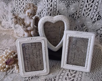 Mini frames, Eclectic collection, shabby white, French country decor, 3 mini frames