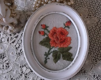 Shabby white, Vintage oval frame needlework, coral rose, vintage needlework