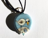 Bird with blue sea/sky, Lampwork, Lilyb444, Gifts for her, Teen gift,