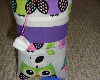Tooth Fairy Pillow with tooth holder: Purple Owls