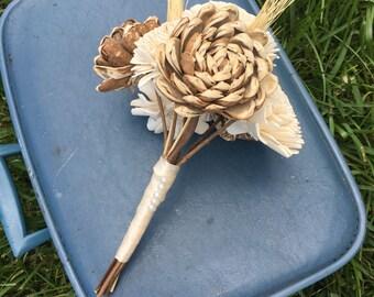 Sola Bouquet, Sola Wedding Bouquet, Rustic Wood Bouquet, Wood and Wheat Bouquet