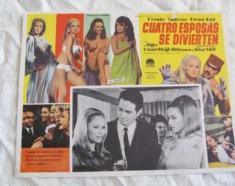 Vintage Spanish Mexican Movie Lobby Card Poster - Cuatro Esposas Se Divierten - Four Wives Fun