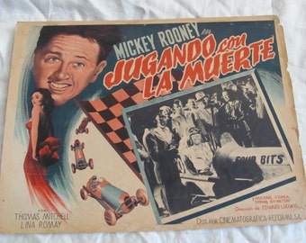 Vintage Spanish Mexican Movie Lobby Card Poster - Jugando con la Muerte - Playing God