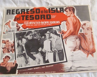 Vintage Spanish Mexican Movie Lobby Card Poster - Regreso a la Isla del Tesoro - Return to Treasure Island