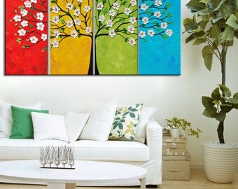 Abstract painting, Four Seasons Tree Painting, Blossom Painting, Modern Palette Knife Tree Impasto Large Abstract 24x48,Textured Tree Art