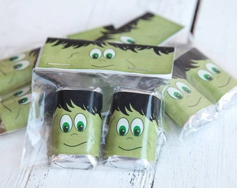 Halloween party favors, Halloween gift sets, Frankenstein set, Frankenstein party favor,Halloween bag topper, Chocolate with bag topper set.
