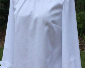 white shirt ruffle long sleeves, oxford cloth