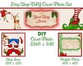 Etsy Shop Banner New Size Cover Photo Set DIY Add Your Shop Name Adorable Christmas Santa, Elf And Rudy Instant Download