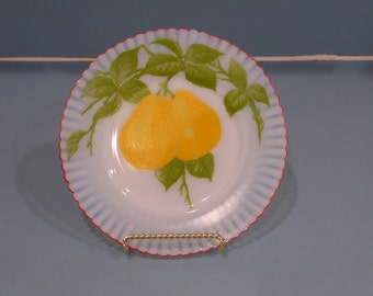 Depression Glass Petalware Salad Plate with Pears, Fired On Red Trim