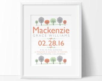 Personalized baby, Birth Stats, Woodland nursery, Birth Announcement wall art, printable nursery art, nursery printable, Kids Wall Art