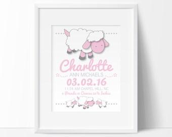 Lamb nursery, birth stats wall art, nursery name, birthdate print, personalized baby gift, nursery art printable, sheep nursery,