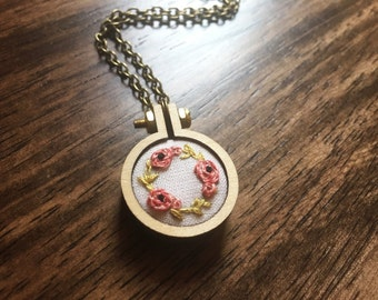 Ring of little Rosie Flowers Hand Embroidered Necklace Circular Design Valentine's Jewelry Gift for Her Under 50