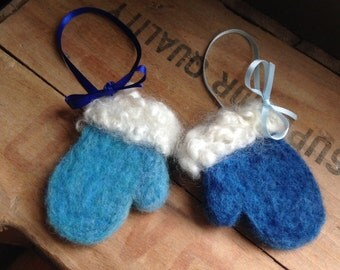 Two Wooly Blue Winter Mitten Ornaments Needle Felted