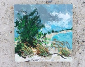 "Original Painting ""Storms on the Mainland"" Acrylic Oil Pastel and Sand on Birch Wood Painting Panel Anna Maria Island Series"
