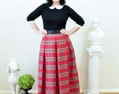 Holiday Red Christmas Plaid Taffeta Ball Skirt  Midi or  Maxi Full length Stewart Plaid long skirt made to order all sizes
