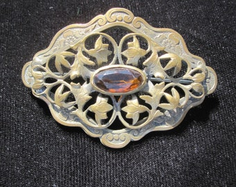 Victorian Brass Sash Pin with Amber Stone