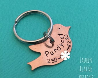 Hand Stamped Bird Shaped ID Pet Tag- Add Your Pet's Name and Number- Brass Copper or Aluminum