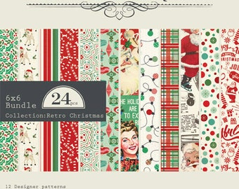 """NEW! IN STOCK! Authentique Paper """"Retro Christmas"""" 6x6 Pad"""