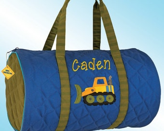 Quilted Duffle Bag - Personalized and Embroidered - CONSTRUCTION TRUCK
