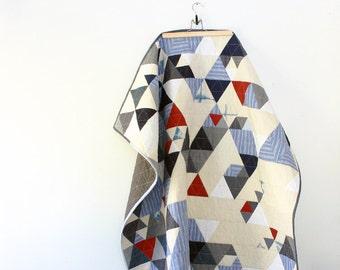 Throw Sized Triangle Quilt in Shibori, Cream, White and Denim