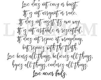 Love verses // 1 Corinthians 13 // Printable