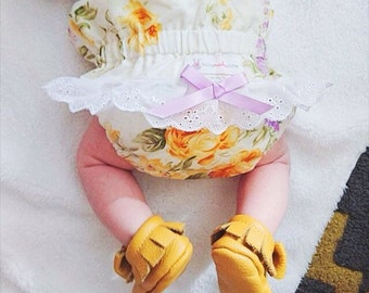 Vintage Floral Yellow Baby Girl Ruffled Bloomers