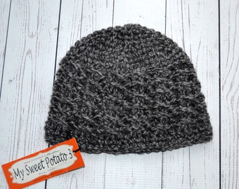 Grey Textured Beanie