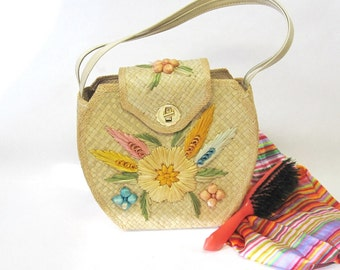 Straw Purse Embellished 1950s Handbag Bags By Whidby