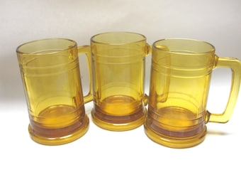 Beer Mugs Drinking Gold Tankards Clear Steins Set Of Three Handle Glasses