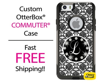iPhone OtterBox Commuter Case for iPhone 7, 7 Plus, 6/6s, 6 Plus/6s Plus, 5/5s/SE, 5c Galaxy S7 S6 S5 Note 5 Monogrammed Damask Bling Case